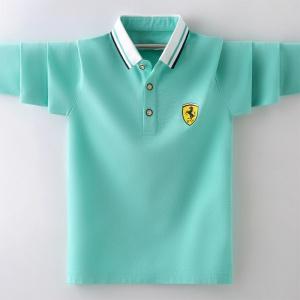 男童方领长袖T恤衫中大童帅气POLO衫春秋洋气打底衫