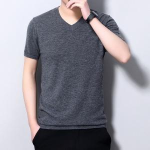 2020秋季纯色V领男士短袖全羊毛针织衫