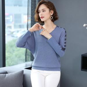 蝙蝠袖毛衣女宽松外穿2020秋冬装新款V领韩版针织打底衫