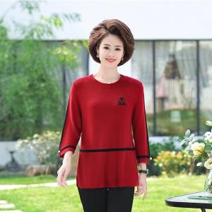 2020年秋季新款时尚女士中老年针织上衣