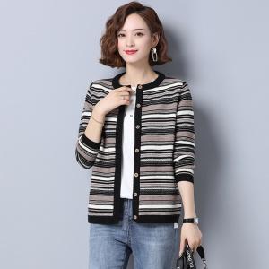 针织开衫女秋冬新款拼色显瘦毛衣圆领长袖宽松时尚外套针织羊毛衫