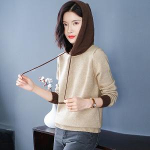 宽松大版型拼接毛衣女连帽针织衫洋气宽松遮肚子显年轻套头卫衣潮