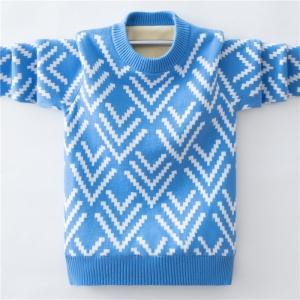 男童纯棉波浪套头毛衣韩版中大童加绒加厚打底衫