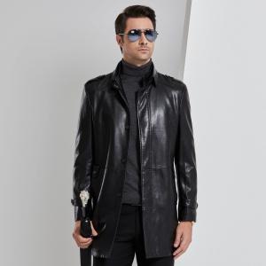 真皮皮衣男中长款皮风衣修身立领皮夹克中年春秋装外套皮大衣