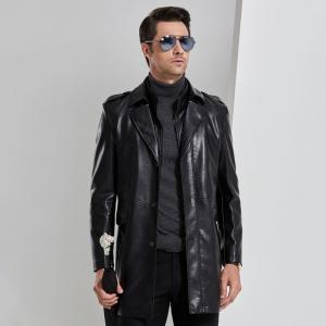 中年男士生态真皮风衣中长款西装领皮衣男加绒皮大衣