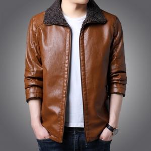 皮衣男冬季修身韩版立领加绒加厚皮夹克男士外套机车服潮