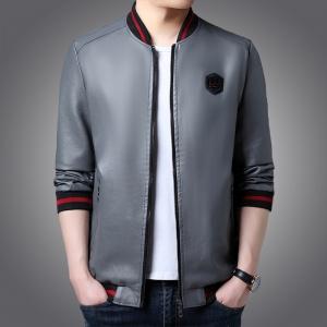 男士皮衣春秋季修身薄款韩版立领皮夹克外套男装机车服潮