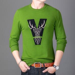 男士针织衫毛衣韩版修身秋冬圆领羊毛衫