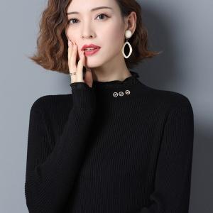 2020新款羊毛衫女半高领纯色短款套头毛衣秋冬修身内搭针织打底衫