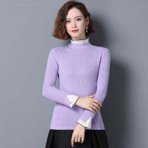 洋气拼接木耳领打底衫女内搭2020秋冬新款修身长袖针织衫外穿毛衣