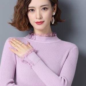 新款蕾丝拼接长袖针织打底衫半高领加厚羊绒衫短款内搭紧身毛衣女