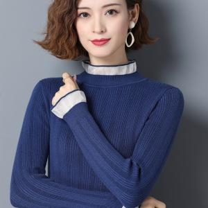 修身针织衫女秋冬2020新款套头短款半高领打底衫时尚木耳边羊毛衫