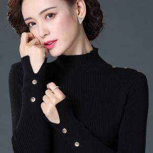 百搭基础毛针织衫2020冬季新款女装纯色扣子长袖修身显瘦上衣