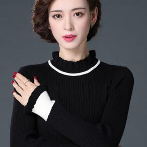 2020年秋冬新款黑色半高领打底女士毛衣纯羊绒针织羊毛衫潮