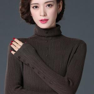 高领毛衣女2020新款秋冬季套头纯色插肩长袖休闲针织打底衫女加厚