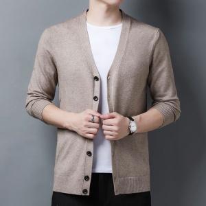 针织开衫男薄款春秋外套宽松休闲青年加肥加大码羊毛衫外穿