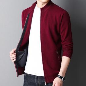 针织开衫男士中年秋冬季新款纯色商务毛衣羊毛外衣休闲外套