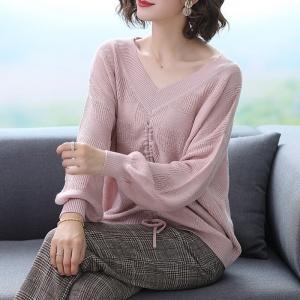 20230新款秋冬季纯色宽松女士针织衫