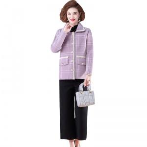 2020新款秋季女士时尚妈妈装针织开衫外套