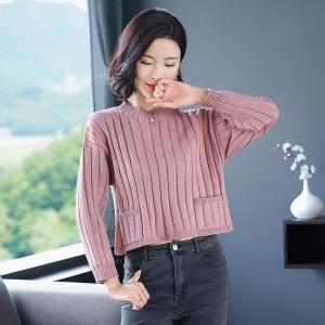 2020新款秋冬季圆领纯色短款女士羊毛衫
