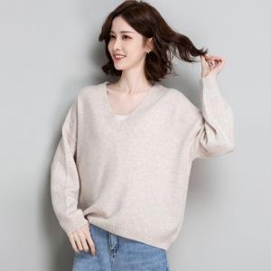 2020冬季女装慵懒羊毛衫女100纯羊毛韩版宽松外穿鸡心V领针织上衣