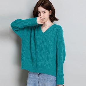 V领羊毛衫女100纯羊毛外穿短款秋冬针织衫提花宽松韩版加厚毛衣女