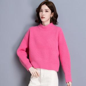 100%纯羊毛衫女半高领套头毛衣秋冬韩版宽松大码加厚打底针织衫女