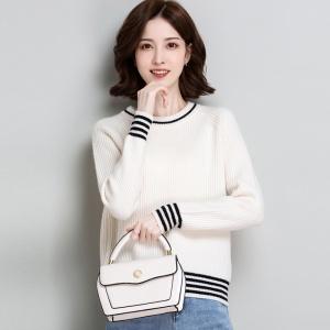 100%羊毛衫女短款宽松外穿针织上衣秋冬新款圆领套头毛衣女打底衫