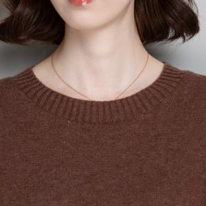 2020秋冬季新款圆领套头羊毛衫女韩版宽松针织拼色打底衫洋气外穿