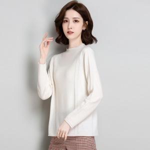 薄款半高领长袖针织全羊毛毛衣女2020秋季新款韩版宽松打底衫上衣