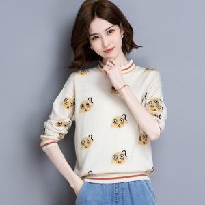 甜美毛衣女减龄上衣2020秋季新款长袖开叉打底提花针织羊毛衫洋气