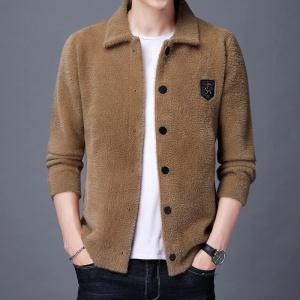男士翻领水貂绒开衫外套加厚款纯色保暖毛衣羊绒针织衫男貂绒夹克