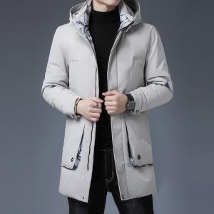 冬季男士纯色中长款羽绒服青年冬装连帽上衣白鸭绒保暖外套