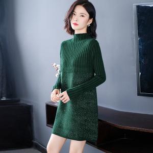 中长款毛衣女秋冬2020年新款韩版显瘦百搭打底衫半高领针织连衣裙