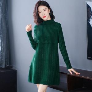 绿色毛衣女士宽松外穿秋冬装2020年新款中长款毛衣裙半高领打底衫