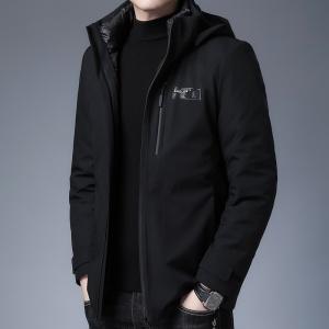 男士羽绒服冬季中年休闲男装加厚修身韩版连帽保暖外套男