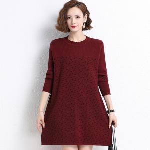中长款毛衣女羊绒衫大码韩版宽松百搭针织羊毛衫圆领打底毛衣裙