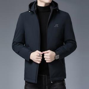 冬季羽绒服男中年休闲加厚短款韩版修身连帽保暖男士外套