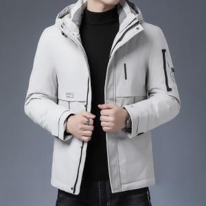 男士短款羽绒服中年休闲加厚修身韩版连帽中年保暖外套男