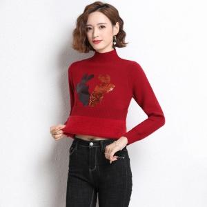 绒毛一体女士短毛衣宽松外穿秋冬新款韩版上衣加厚保暖内搭打底衫