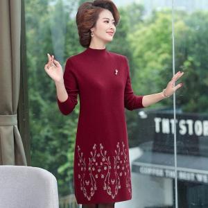 2020新款秋季女士妈妈装时尚针织打底衫裙