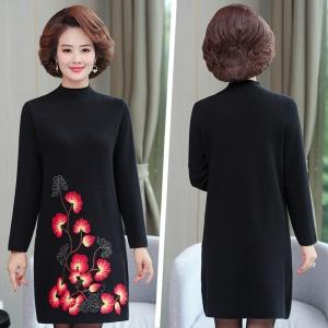 2020新款秋季女士妈妈装时尚针织衫裙