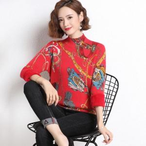 妈妈女士毛衣加绒加厚短秋冬季一体绒印花中老年内搭半高领打底衫