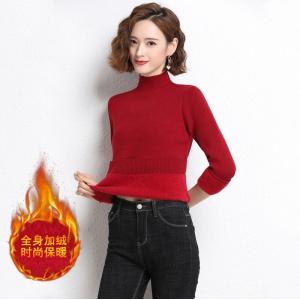 一体绒毛衣女秋冬新款半高领加绒保暖修身针织上衣冬天内搭打底衫