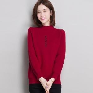 半高领加绒加厚毛衣女短款冬季织绒一体打底衫保暖字母刺绣针织衫