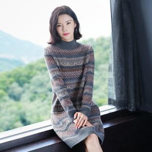2020年冬季新款时尚连衣裙针织衫条纹港风全羊毛