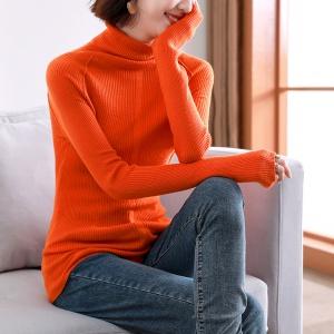 2020年冬季新款时尚打底纯色针织简约优雅针织衫
