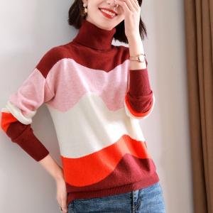 2020年冬季新款女士时尚全羊毛拼色港风针织衫