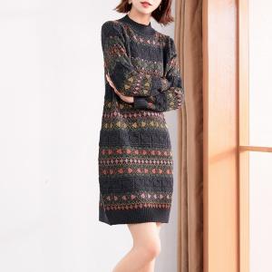 2020年冬季新款中长款全羊毛花色针织连衣裙拼色