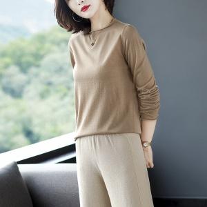 2020年冬季新款全羊毛纯色针织衫简约时尚